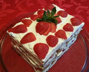 Strawberry topping of cake