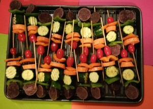 Skewers on Baking Sheet